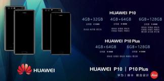 Armazenamento Huawei P10 e P10 Plus, RAM e preços