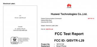 Certyfikacja baterii Huawei P10 FCC