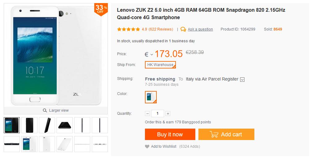 ZUK Z2 Banggood 148 euro