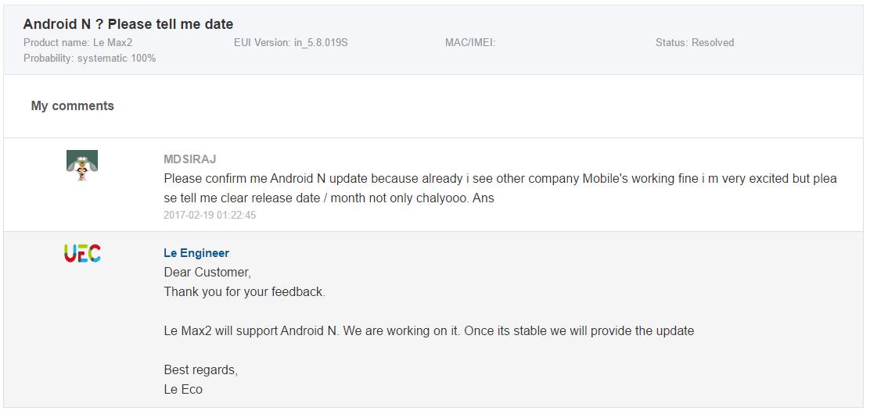 LeEco Le Max 2 Android Nougat
