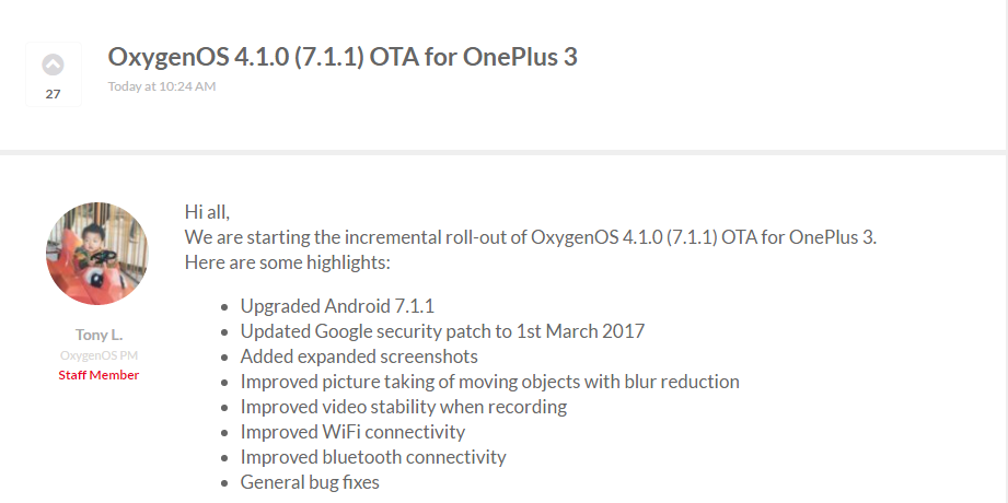 OnePlus 3 3T OxygenOS 4.1.0 Android 7.1.1 Nougat