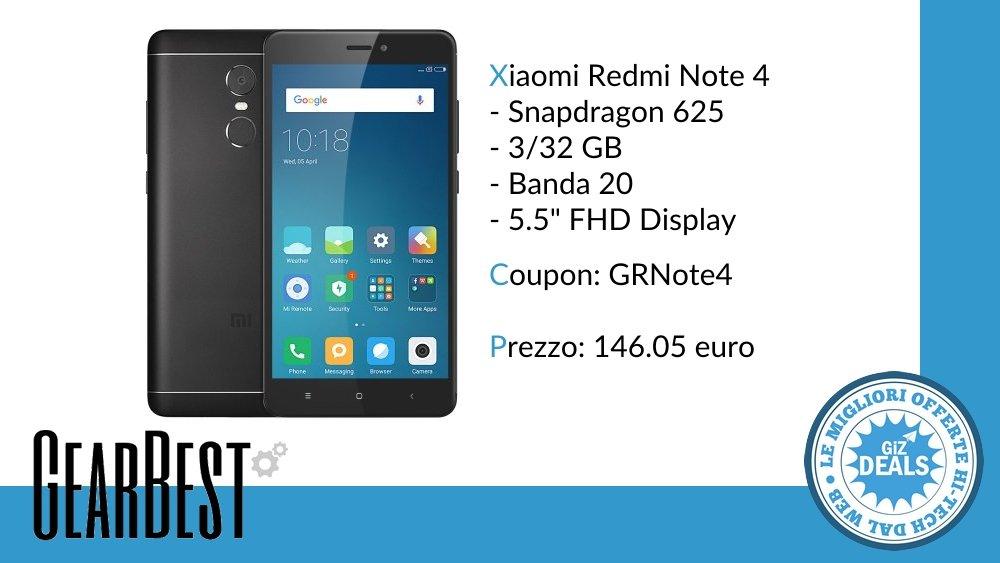 GizDeals - Offerta GearBest - Xiaomi Redmi Note 4 - Versione Global - Banda 20 - Codice Sconto