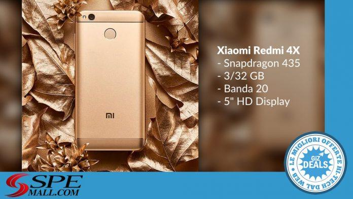 GizDeals - Offerta Spemall - Xiaomi Redmi 4X - Banda 20 - Gold