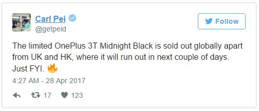 OnePlus 3T Midnight Black Carl Pei