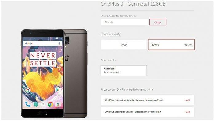 oneplus 3t 128 gb gunmetal