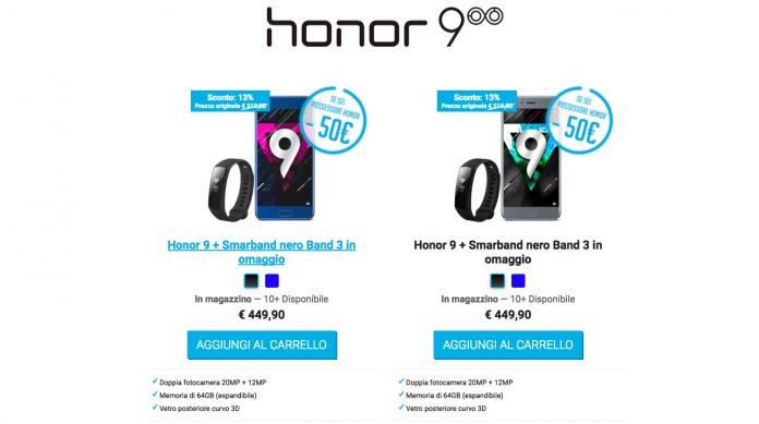 Honor 9 Honor Band 3 promozione