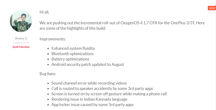 OnePlus 3 3T OxygenOS 4.1.7