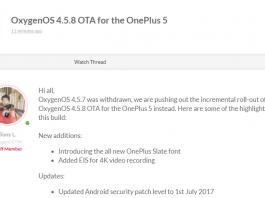 OnePlus 5 OxygenOS 4.5.8