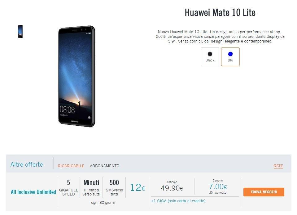 Oferta de viento Huawei Mate 10 Lite
