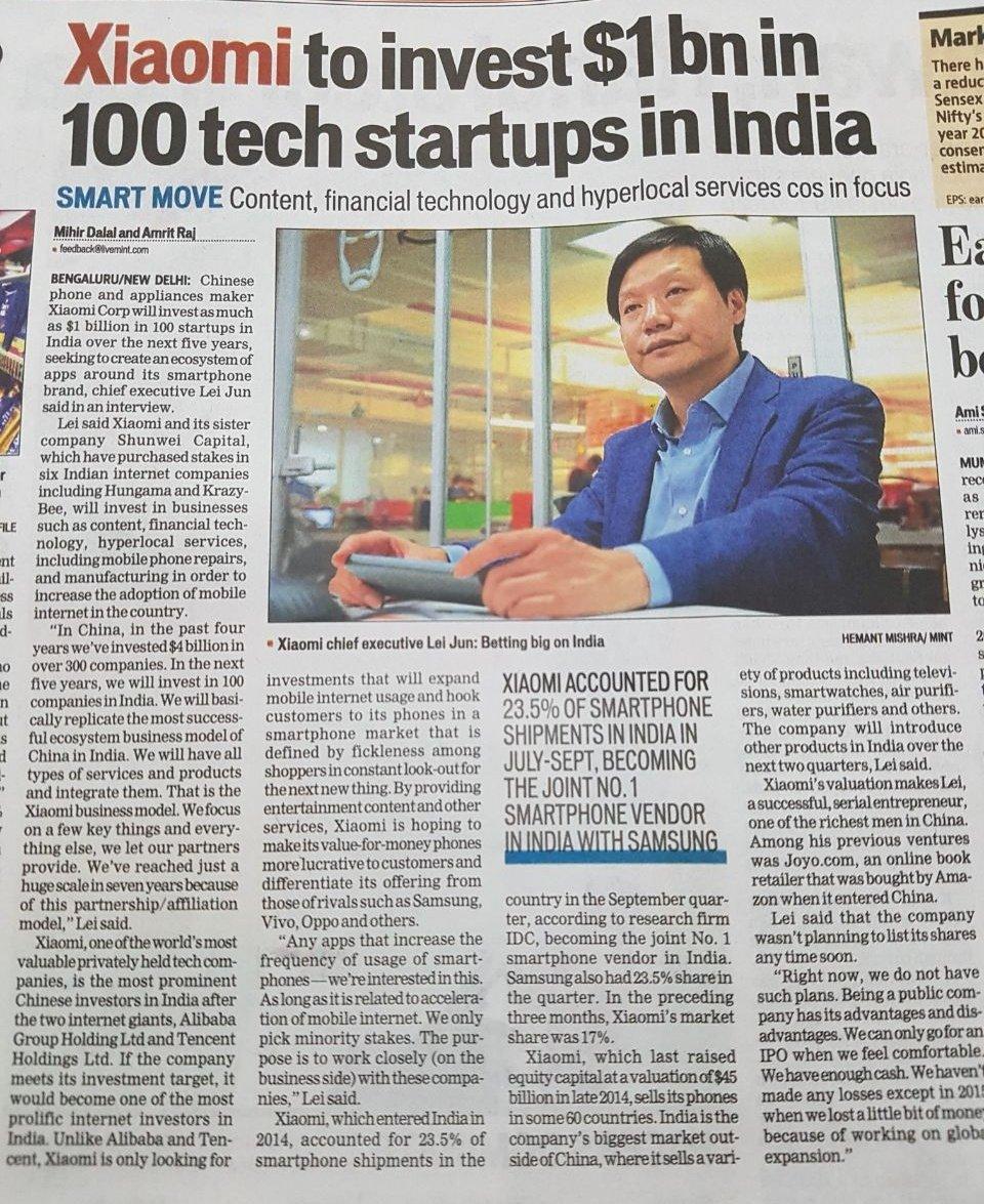 Xiaomi: Lei Jun reveals an investment from 1 billion dollars