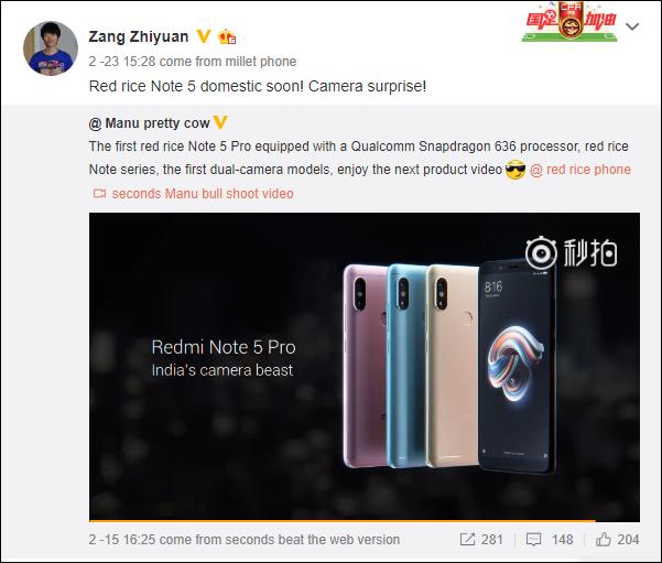 Câmera Xiaomi Redmi Note 5 Pro