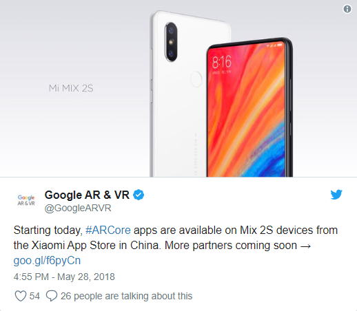 Xiaomi: Google confirms the download of ARCore on Mi Store in China