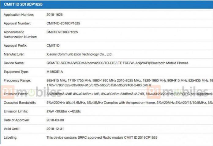Xiaomi mi 8 i certyfikaty 7 3C FCC (1)