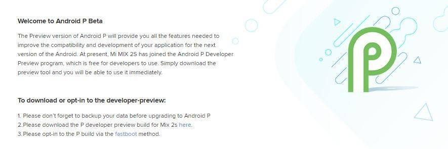 xiaomi mi mix 2s android p