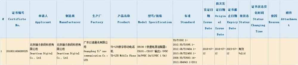 Smartisan-OE106-smartisan-Nut-Pro-3-certificazione-3c