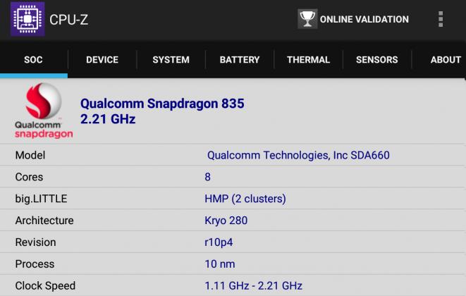 Xiaomi mi Pad 4 CPU z