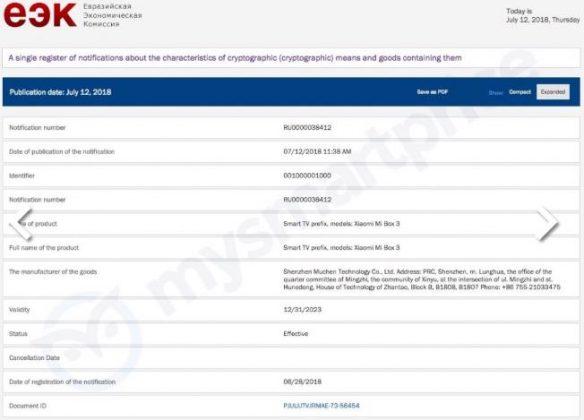 certificação de caixa eec xiaomi 3