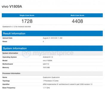 Vivo X23 Geekbench Snapdragon 710