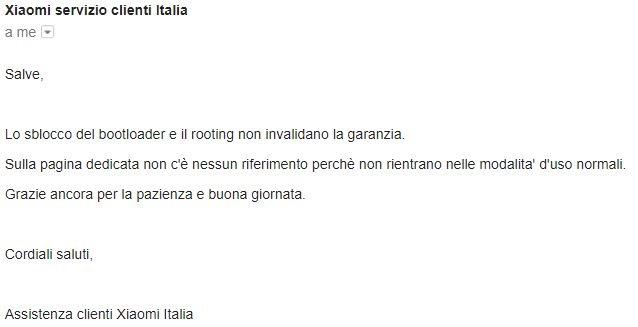 xiaomi italia garanzia sblocco bootloader