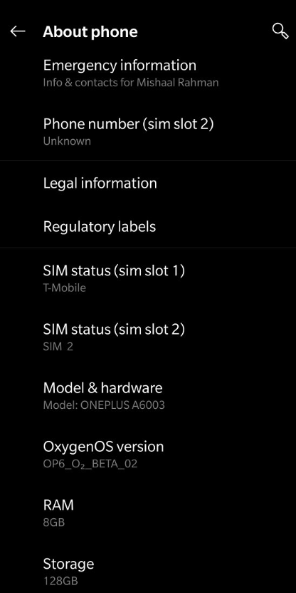 Oneplus 6 OxygenOS Open beta 2 Android 9 Pie