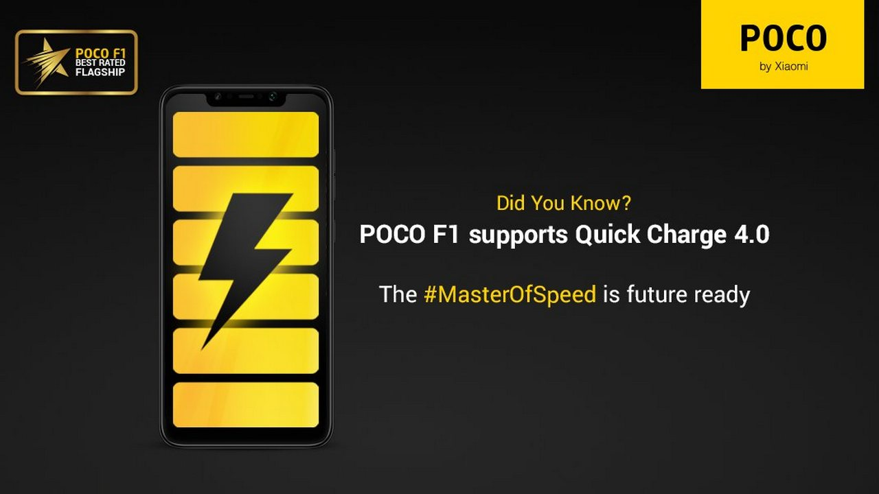 Xiaomi POCO F1: confirmed support for the Quick Charge 4 0