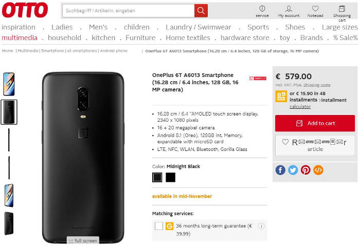 OnePlus 6T prezzo