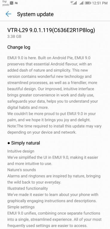 Actualización de la tarta de Android 10 de huawei p9
