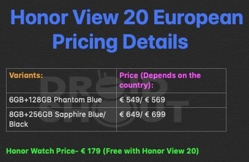 honor view 20 prezzo honor watch