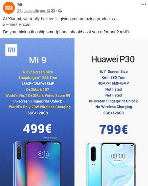 xiaomi vs huawei p30