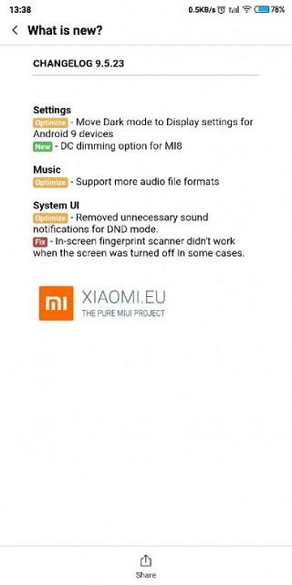 MIUI Beta global 10 9.5.23 Xiaomi
