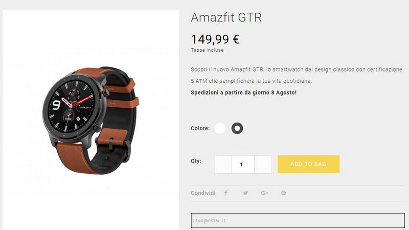 amazfit gtr italia preço onde comprar