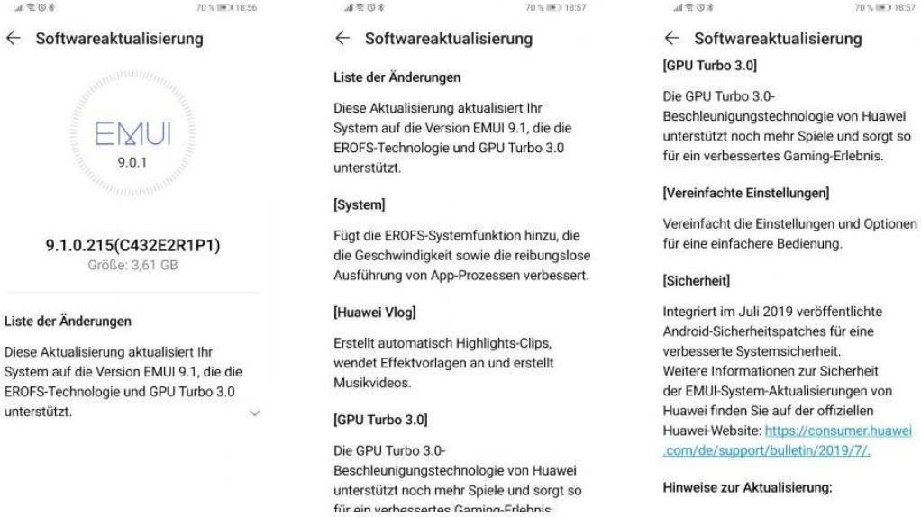 huawei p smart+ emui 9.1