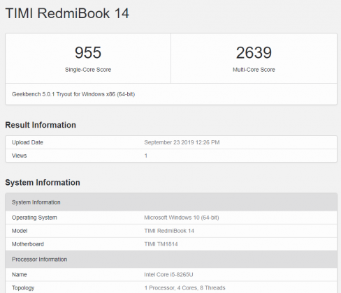 Test porównawczy Xiaomi RedmiBook 14