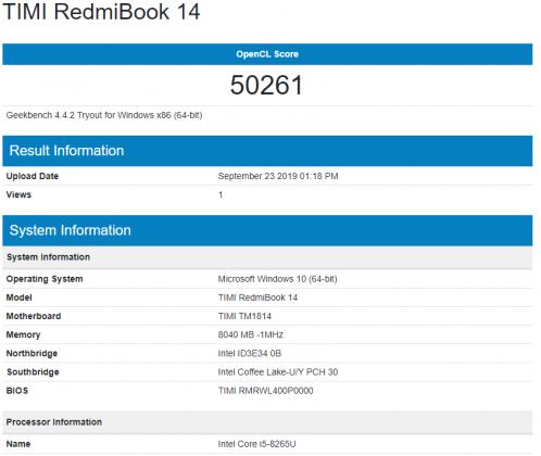 benchmark Xiaomi RedmiBook 14
