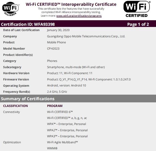 oppo find x2 certificazione wi-fi alliance