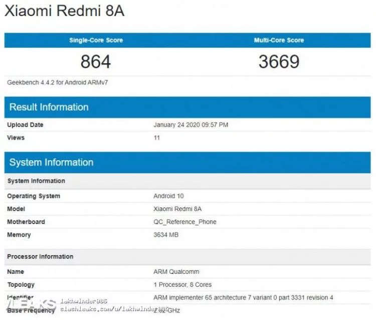 redmi 8a android 10 geekbench