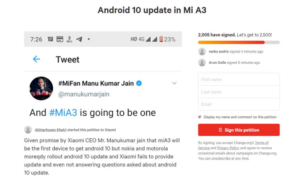 xiaomi mi a3 android 10 petizione