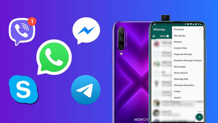 WhatsApp Facebook Messenger Telegrama Huawei Honor