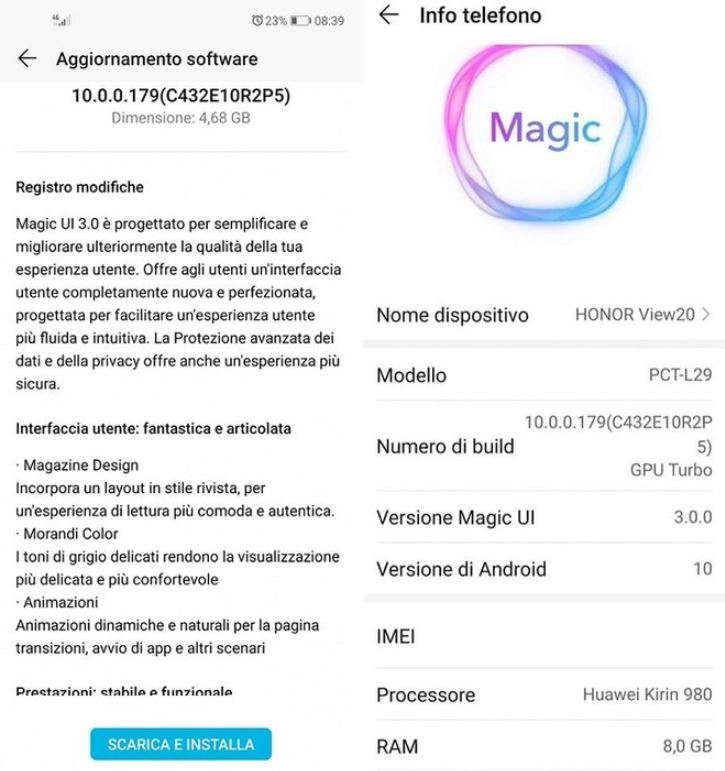 honor view 20 magic ui 3.0