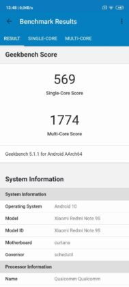 benchmark Redmi Note 9S