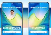 câmera Huawei sob a tela