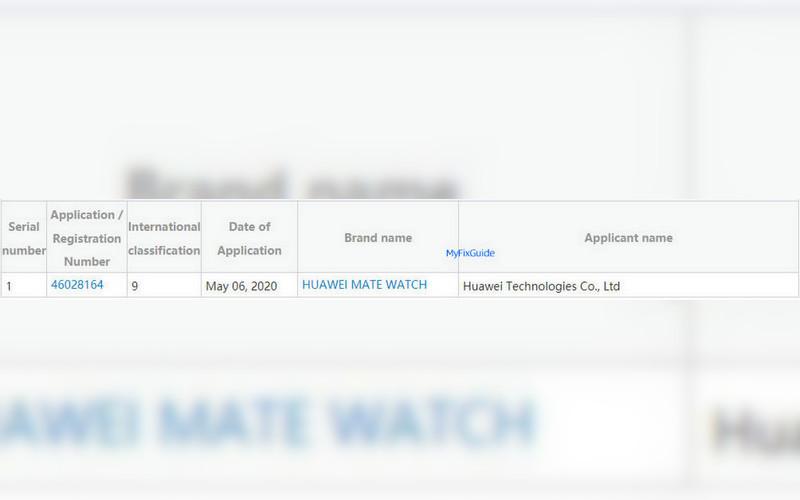 huawei mate watch trademark registration