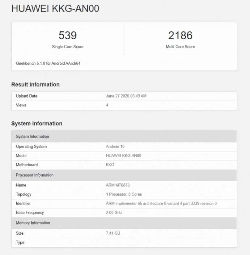 honor x10 max geekbench
