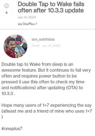 OnePlus 7 Pro双击以唤醒错误