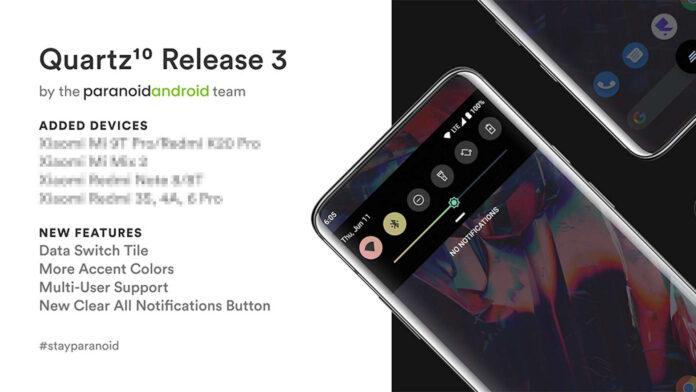 paranoid android quartz 3 android 10 xiaomi redmi