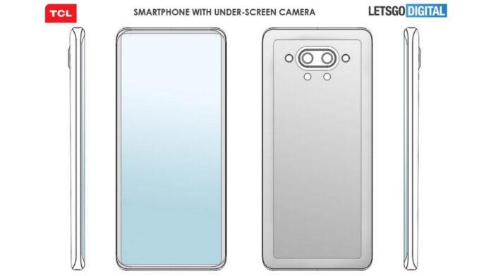 câmera do smartphone tcl sob exibição de patente 2