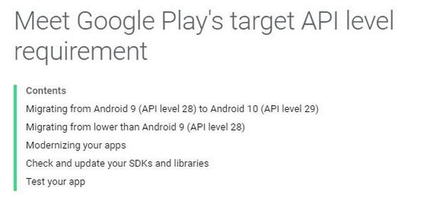 google play store supporto applicazioni android 10 2