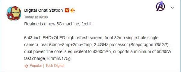 realme smartphone 5G medio gamma specifiche