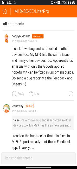 xiaomi miui 12 google assistant modalità scura bug