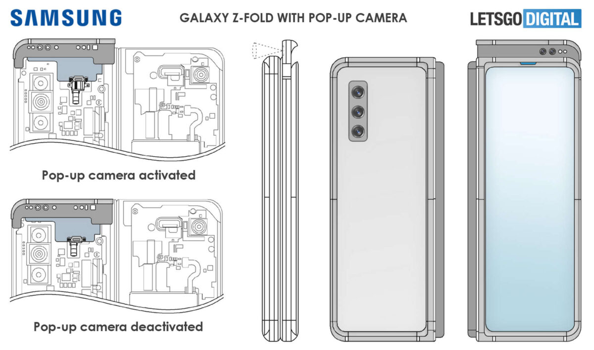 samsung galaxy z fold selfie camera pop-up